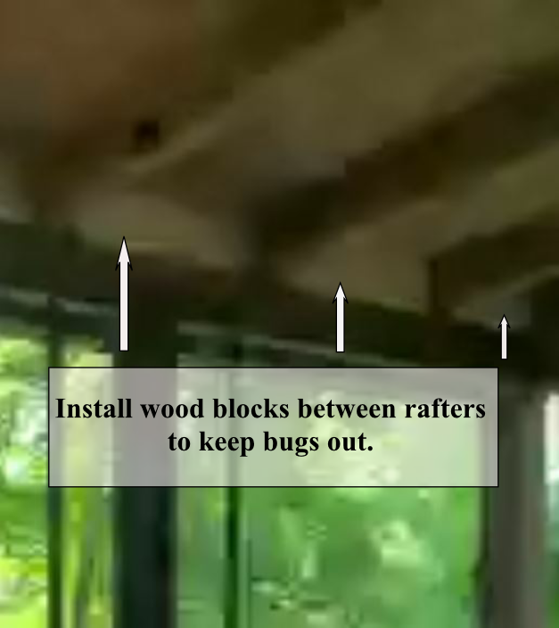 Install wood blocks between rafters to keep bugs out.