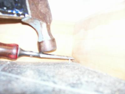 Chisel Helps Nailing in Tight Space